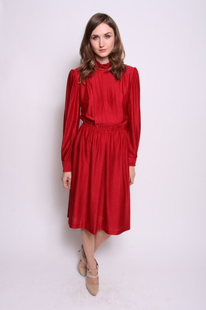 brick red chicshopca Vintage dress
