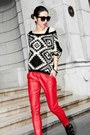 Black-geometrical-thrifted-vintage-sweater-red-red-shiny-moschino-pants