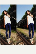 ivory vintage blouse - blue American Apparel leggings