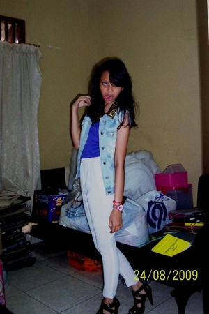 DIY stuff jacket - Zara shirt - flea market ps senen pants - belle shoes - Barbi