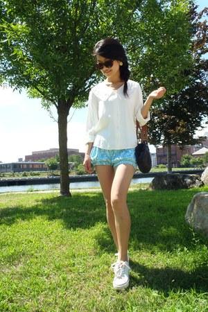aquamarine pajama shorts shorts - ivory vintage blouse - ivory sneakers