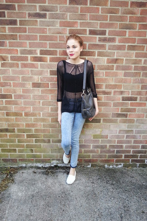 black bralet new look top - black mesh next top - TOMS shoes