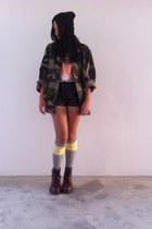 jacket - boots - hat - shirt - shorts - socks