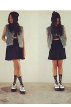underground england shoes - Daiso hat - Topshop socks - Topshop skirt