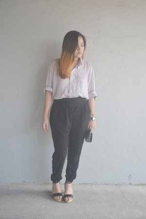black Forever 21 pants - black Swatch watch - black sm parisian heels
