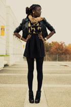 black Charlotte Russe shoes - black H&M dress - black leather H&M jacket