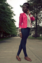 hot pink Chaps blazer - brown oxfords Bass shoes - navy H&M jeans
