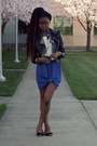 chiffon knotted skirt - leather H&M jacket - denim moto Tobi jacket