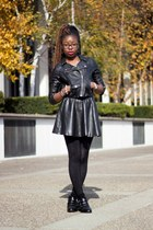 black studded C Label boots - black faux leather H&M jacket