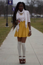 cream cropped Forever 21 sweater - mustard skater Charlotte Russe dress
