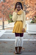 mustard thrifted scarf - light brown combat Charlotte Russe boots