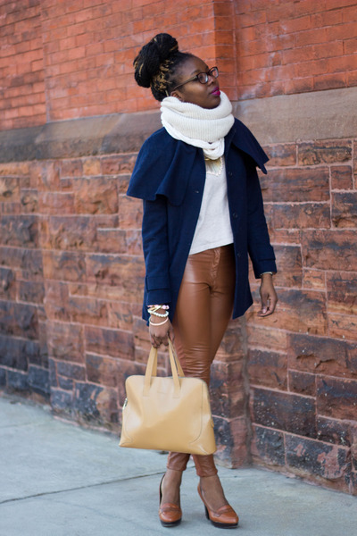 navy H&M coat - beige H&M sweater - tan Cole Haan bag - tawny H&M pants