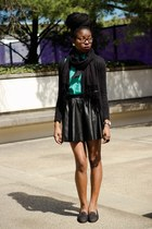 black leather skater H&M skirt - black XSRE scarf - teal thrifted blouse