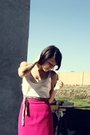 White-frenchi-top-pink-skirt-black-tights-belt-brown-shoes
