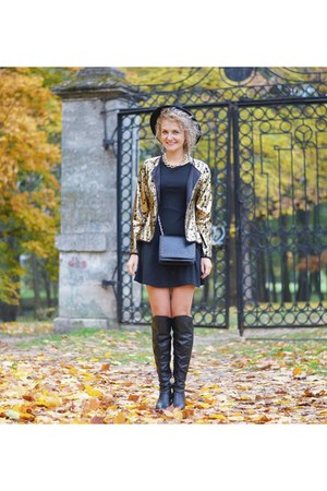black over the knee unknown boots - black black new look dress