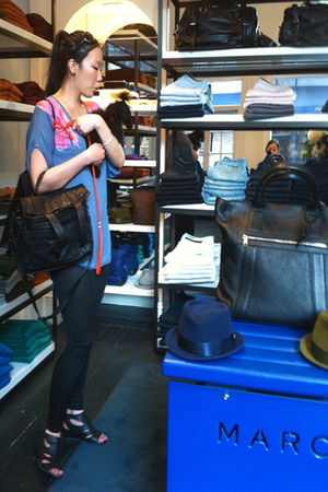 blue mm6 blouse - black codes combine leggings - black PROENZA SCHOULER purse -