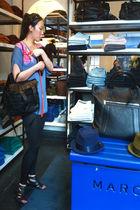 blue mm6 blouse - black codes combine leggings - black PROENZA SCHOULER purse -