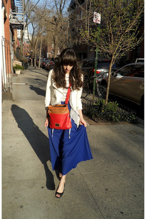 blue maxi skirt ALand skirt - white valencia jacket - cream striped Gap sweater