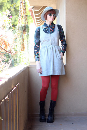 silver Cope dress - burnt orange We Love Colors tights - black vintage blouse