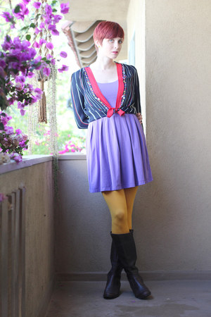 navy vintage cardigan - dark brown AK Anne Klein boots - purple thrifted dress
