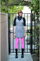 black Soda boots - hot pink We Love Colors tights - black banana republic blouse