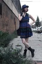 blue thrifted vintage dress - black altama boots - blue thrifted vintage hat