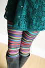 Forest-green-lace-vintage-dress-dark-brown-leather-ak-anne-klein-boots