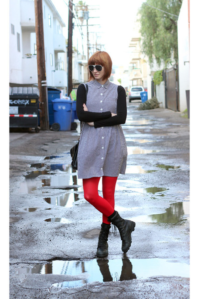 black altama boots - white vintage dress - red We Love Colors tights