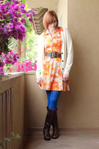 carrot orange vintage dress - blue We Love Colors tights - cream J Crew cardigan