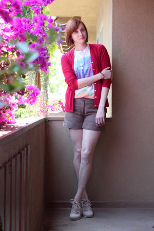 dark brown H&amp;M shorts - ruby red vintage cardigan