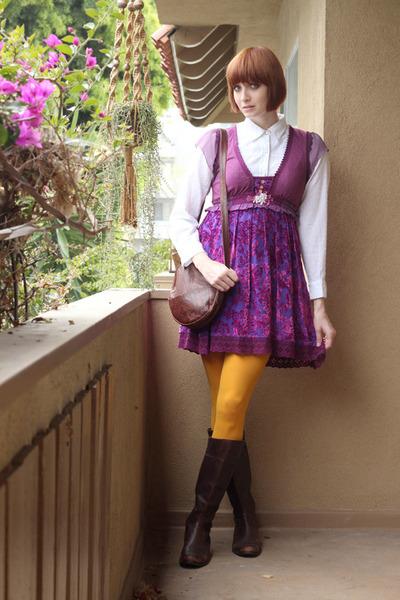 dark brown AK Anne Klein boots - magenta free people dress