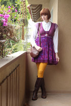 dark brown AK Anne Klein boots - magenta free people dress