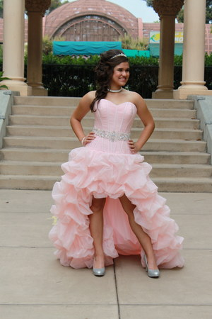 pink high-low quinceanera dress