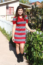 black Macys boots - red Jcpennys dress