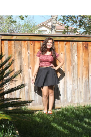 hot pink Forever 21 top - orange Vans shoes - black Love Culture skirt