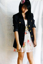 blue Gelibean Couture blazer - white from singapore dress - black Forever 21 nec
