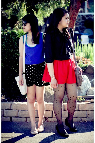red shorts - polka dot shorts - retro xhilaration shirt - black bow shirt