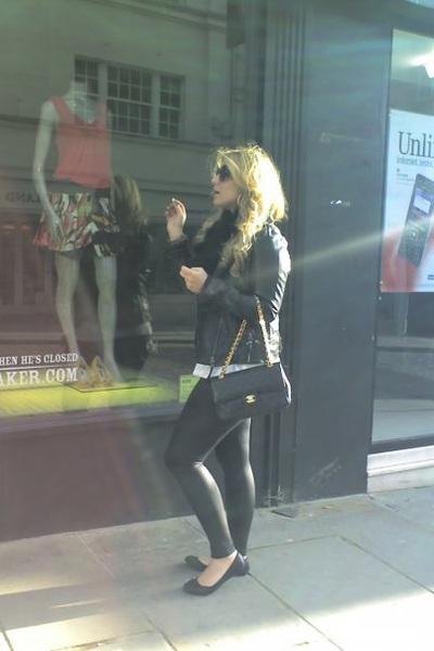 Chanel bag - American Apparel leggings - portobello market jacket - scarf - Tops