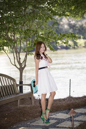 clutch Valentino bag - Prada shoes - Eliza J dress - Salvatore Ferragamo scarf