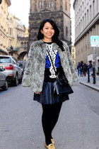 gray faux fur H&M coat - blue knit Nasty Gal sweater