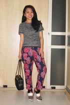 hot pink floral Topshop pants - black camera bag Chanel bag - cream Zara heels