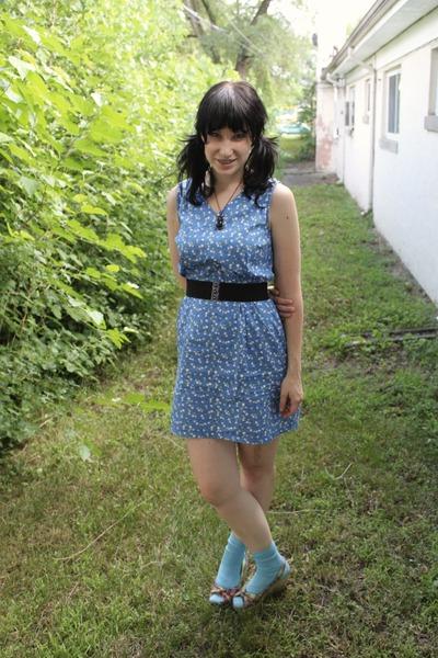 blue thirfted dress - blue Target socks - green Target shoes - black Forever 21