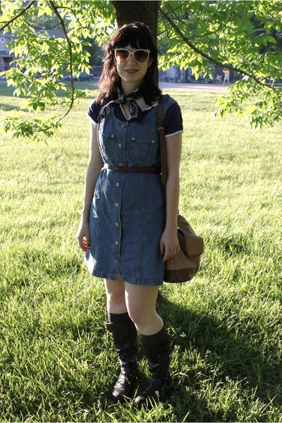 blue thrifted top - blue thifted dress - brown thifted purse - brown Sears boots