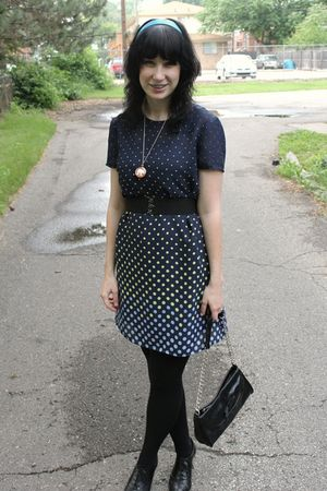 black Payless bag - black Payless shoes - blue thrifted dress - black CVS tights