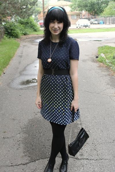 black Payless bag - black Payless shoes - blue thrifted dress - black CVS tights
