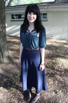 green Forever 21 top - blue thirfted skirt - brown sears boots