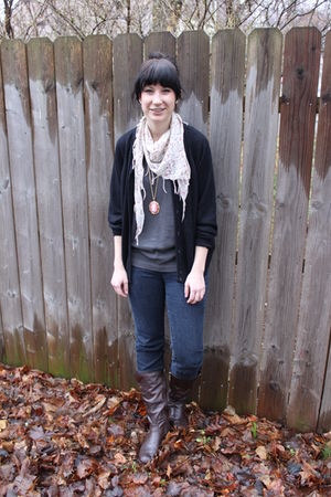pink Forever 21 accessories - brown sears boots - blue Forever 21 jeans