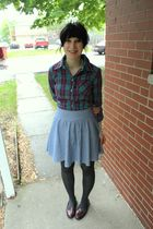 blue Hot Topic blouse - blue alloy skirt - gray Forever21 tights - red alloy sho