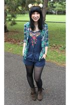 green Forever 21 shirt - blue Forever 21 suit - brown Forever 21 boots - black C