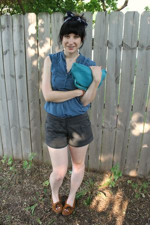 blue f21 shirt - gray f21 shorts - blue gift purse - brown shoes